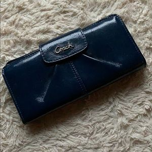 Coach Dark Green Blue Faux Leather Wallet